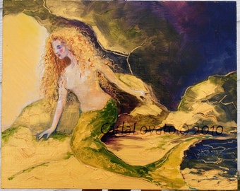 Mermaid Painting, original painting, Oil painting,  mermaid wall art,  original painting,  goddess of the sea, ocean,