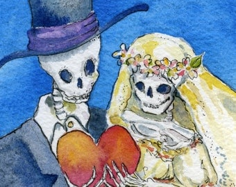 Skeleton wedding, Day of the dead, skeleton bride and groom, Giclee Print 5 x 7