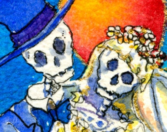 Day of the Dead, watercolor painting,  Skeleton Bride & groom, halloween wedding, giclee Print, ACEO size