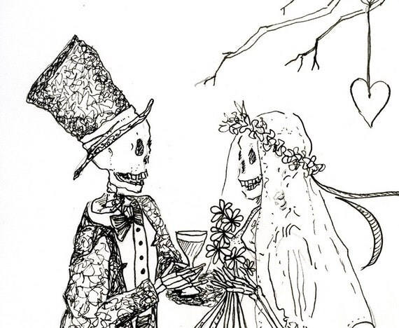 Original, Day of the Dead,  Toasting the Bride, OOAK, Pen and ink Drawing
