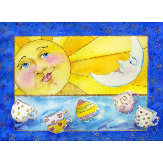 Watercolor Painting, sun and moon, coffee cups, giclee print,  happy sun face, kitchen decor, celestial decor, childs room, wall art