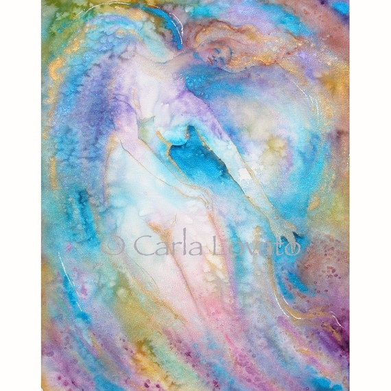 Nude figure of Angel in Watercolor original painting titled You make my heart take wings