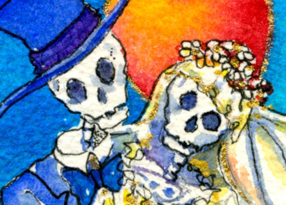 Day of the dead, Wedding, Skeleton, Bride and Groom, ACEO Miniature, Giclee Print,  hand painted elements
