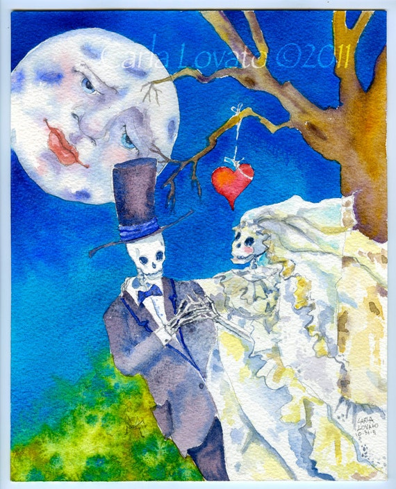 Skeleton wedding, Day of the Dead, Watercolor painting,  giclee Print,  full moon, gothic valentine,  Halloween art