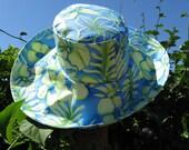 Blue Green Floral Wide Brim Sun Hat