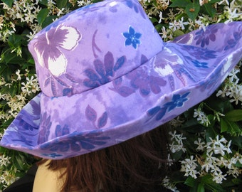 Sunhat Wide Brim Purple Print Womens