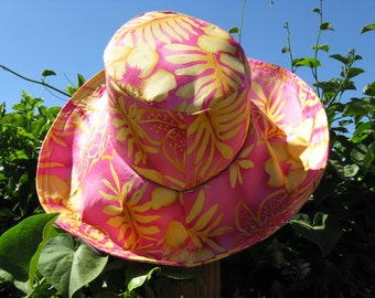 Floral Print Pink Yellow Wide Brim Summer Sun Hat