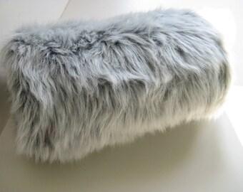 Gray Silver Fox Faux Fur Muff