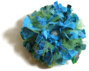 Aqua green tattered flower brooch