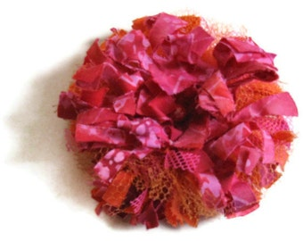 Red  Pink Orange Tattered Flower Brooch