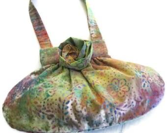 Pink Green Print Handbag