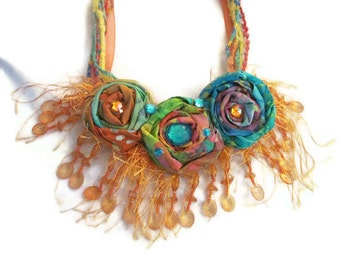 Orange Blue Multicolor Rolled Fabric Floral Necklace Beaded Trim