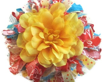 Red Blue Yellow Tattered Flower Brooch