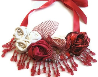 Statement  Bib Necklace Red Creme Rolled Roses Beaded Floral