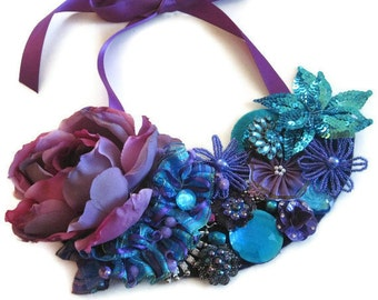 Bib Necklace Statement Floral  With  Flowers in Bohemian Colors