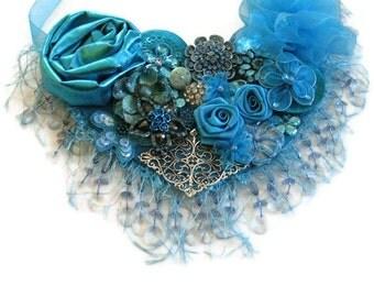 Bib  Statement Necklace Turquoise Floral Beaded Fringe