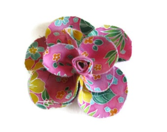 Pink Tropical Print Brooch Hairclip