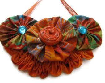 Orange  Blue  Floral Bib Statement Necklace