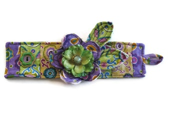 Fabric Textile Cuff Lavender Green Yellow With Flower
