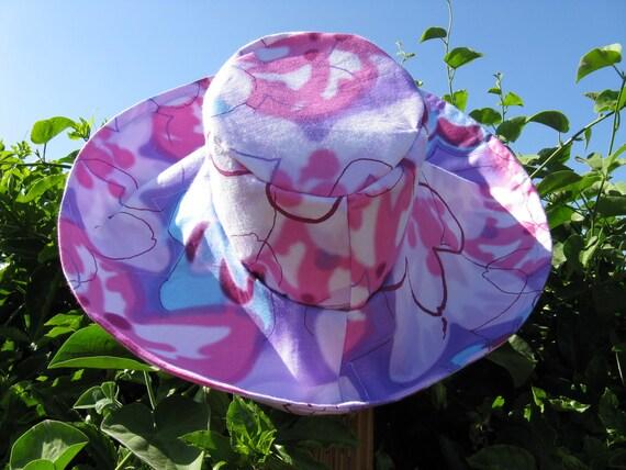 Pink Lavender Print Wide Brim Sun Hat
