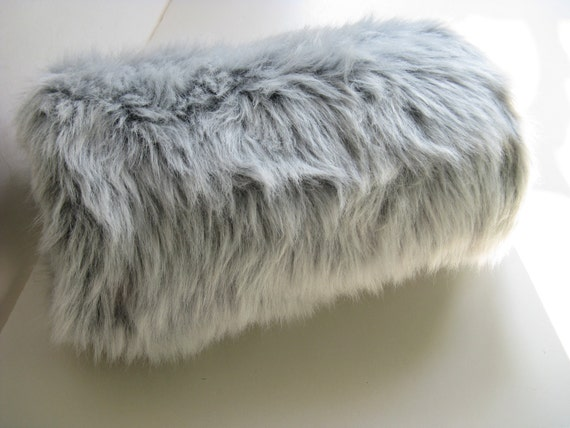 Gray Silver Fox Faux Fur Muff
