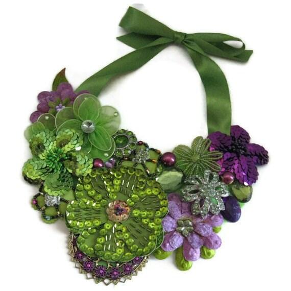 Green Purple Statement Bib Necklace Floral Sequin Trim