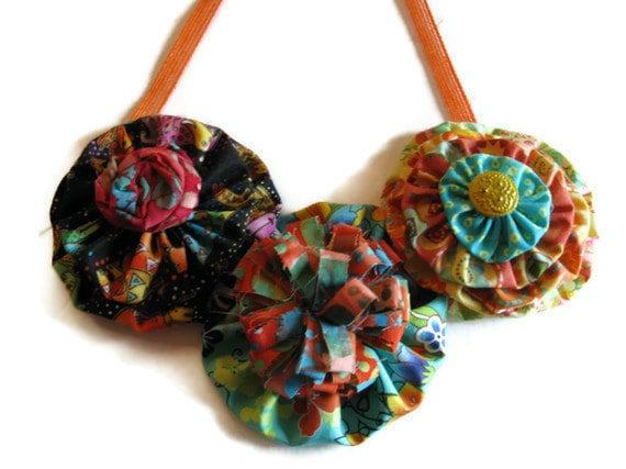 Bib Necklace Statement Floral  With Yo Yo Flowers Bohemian Colors