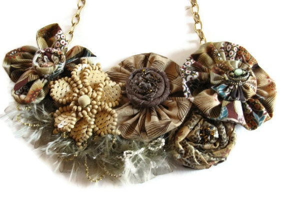 Bib Necklace Beige Brown Floral