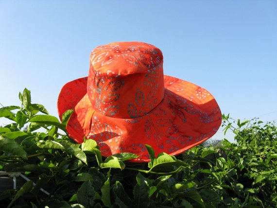 Sun Hat Wide Brim Orange Batik Womens