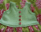 Toddler Summer Dress Soft Green and Pink Hand Knitted