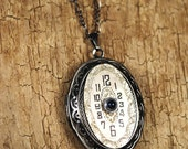 Steampunk Necklace // VINTAGE Watch Dial Oval Locket Necklace - Great for Valentines Day - Mothers Day - Anniversaries
