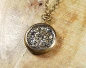 Steampunk Necklace Vintage Pocket Watch Case - Sealed Watch Parts Pendant -- Steampunk Vintage Design