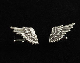 Steampunk Cufflinks // Angel Wing Ox Silver Cuff Links - Petite - Great for Wedding Gift - Fathers Day - Anniversaries