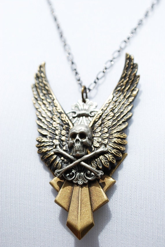 SALE - Steampunk Necklace // GOTHIC Angel Wing Skull and Crossbones - Unisex - Pendant Necklace by Steampunk Vintage Design -- SALE