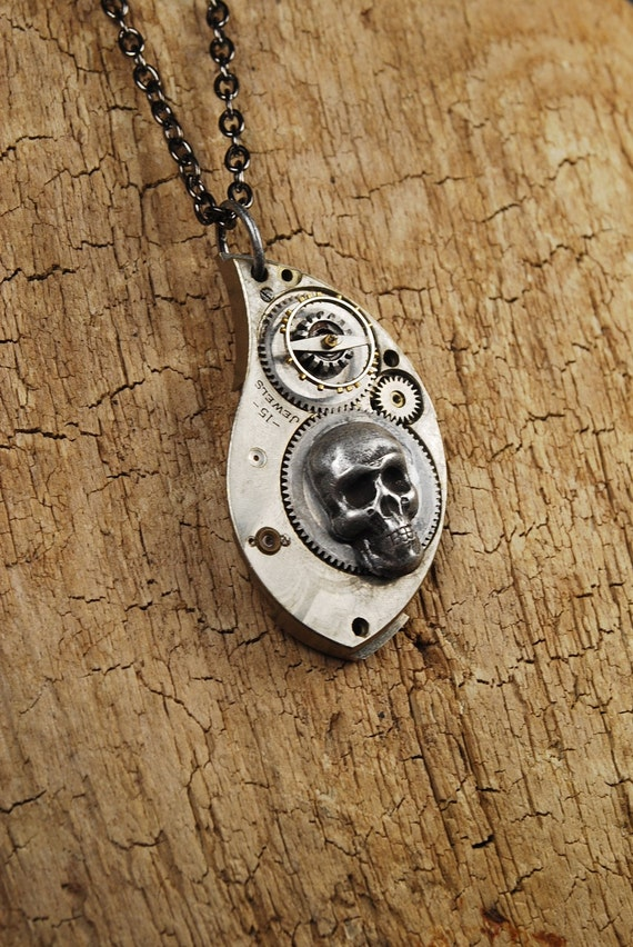Steampunk Necklace // GOTHIC // Skull and Gears Pocket Watch Part Pendant Necklace by Steampunk Vintage - SALE