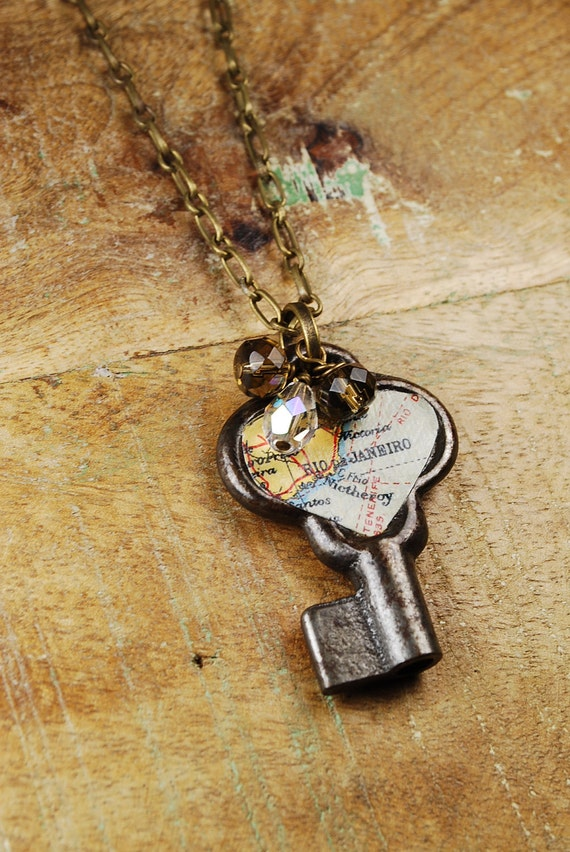 Steampunk Necklace // VINTAGE Heart Shaped Key - Rio De Janeiro Pendant Necklace - Great for Valentines Day - Mothers Day - Anniversaries