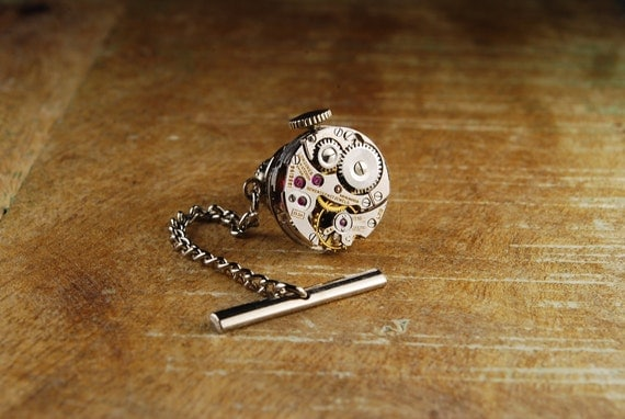 Steampunk Tie Tack LONGINES 17 Ruby Jewel Vintage Silver Watch Movement Mens Gear Tie Tac - Accessories by Steampunk Vintage Design
