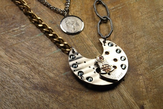 Steampunk Necklace // Elegant // Vintage Silver Pocket Watch Plate Pendant - Great for Valentines Day - Mothers Day - Anniversaries
