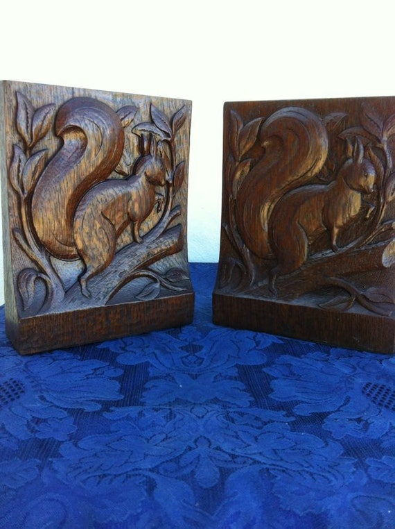 Pair bookends carved wood squirrels