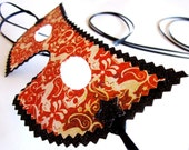 Orange and Black  Halloween Themed Paper Masquerade Mask -  Costume, Decoration or  Party Favor