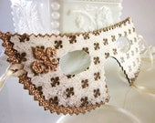 Gold and Cream Fleur de Lis Paper Masquerade Mask - Vintage Inspired, Costume or Party Favor