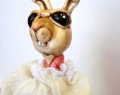 March Hare Pop Up Puppet  Art Doll  Decoration