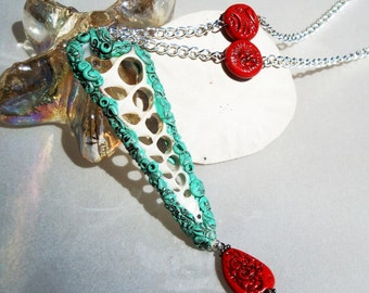 Mermaid Style Sea Shell and Polymer Bead Pendant Necklace