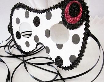 Black and White Polka Dot Mask, Costume or Decor
