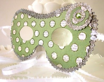 Shabby Chic Silver & Green Polka Dot Masquerade Mask - Costume, Decoration or Party Favor