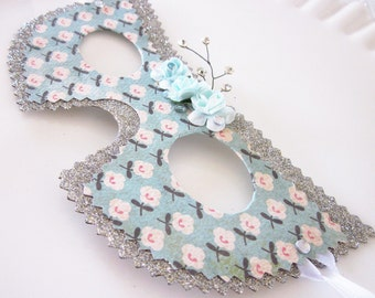 Shabby Chic Rose Masquerade Mask - Costume, Decoration or Party Favor (silver, ivory, pink and robbin's egg blue)