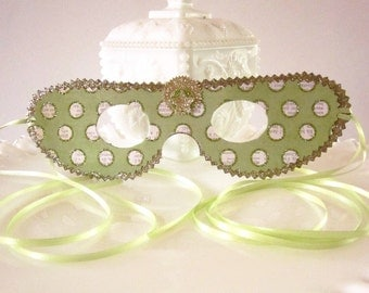 Green, Gold and White Polka Dot Masquerade Mask, Decoration, Party Favor