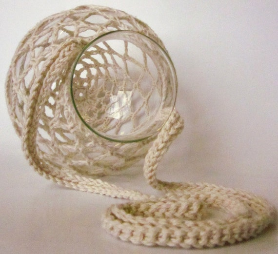 "Diamond Pattern Hanging Crocheted Glass Globe Tea Light Candle Lantern (24""L x 6.5""W)"