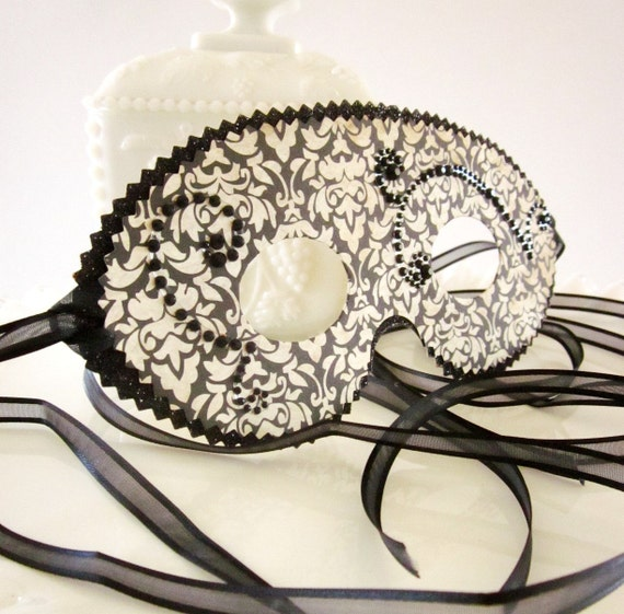 Black Gold Vintage Inspired Halloween Masquerade Mask, Decoration or Party Favor