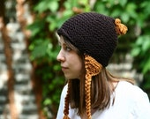 Espresso Brown / Rust Orange Knit Hat with Ear Flaps and Braids - The Oakdale Hat